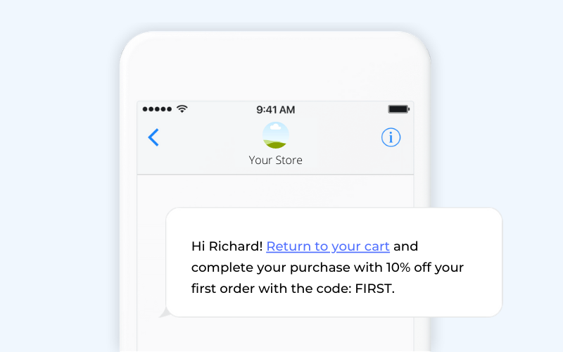 Abandoned cart ecommerce SMS template