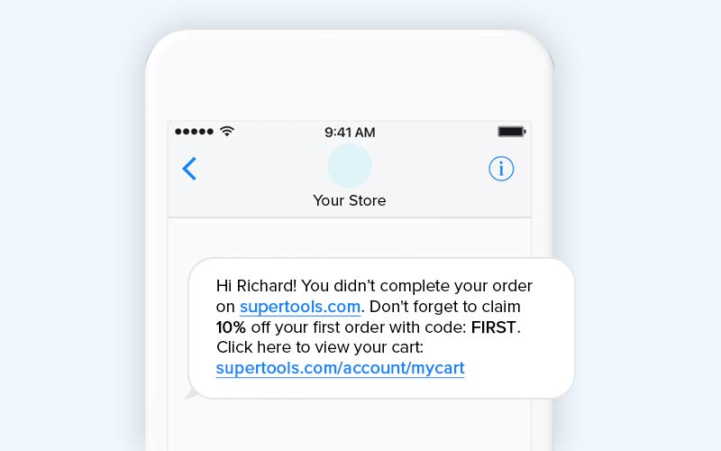 Abandoned cart retargeting SMS template