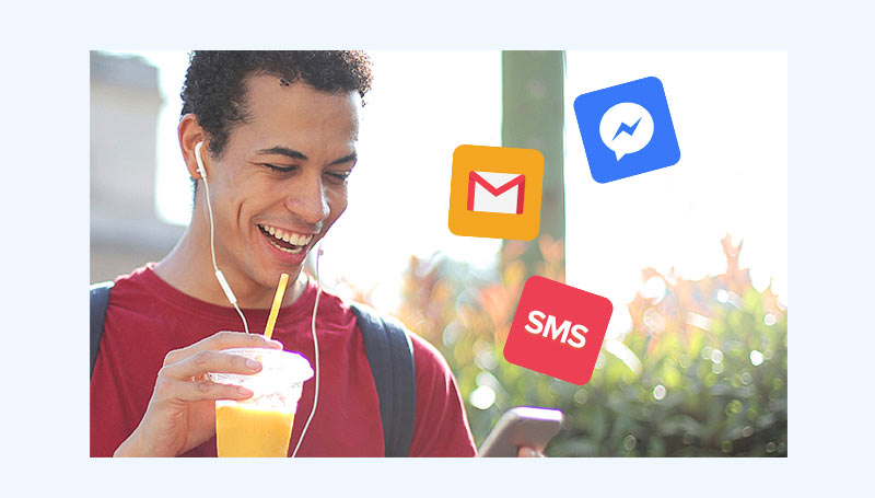 Man with phone showing email, SMS and Facebook Messenger logos