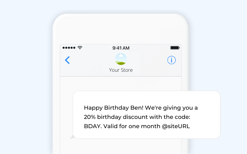 Birthday ecommerce SMS template