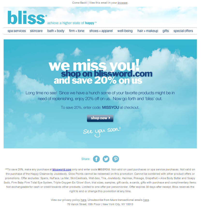 Bliss win-back campaign example