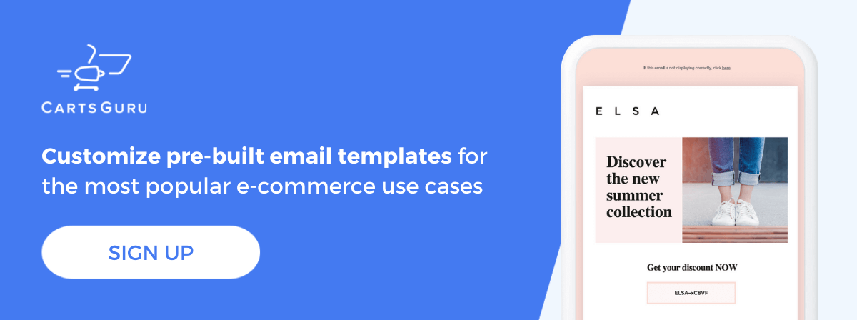 E-commerce email examples CTA
