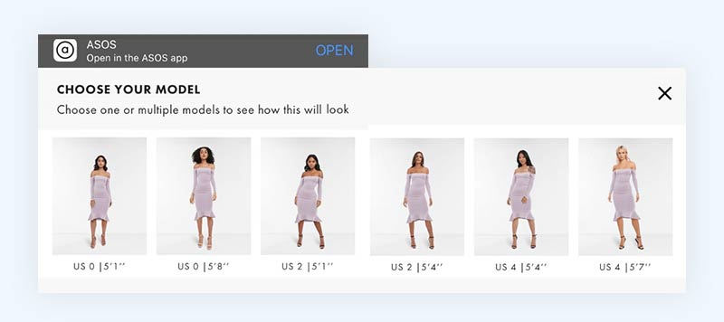 Display of different eCommerce sizing