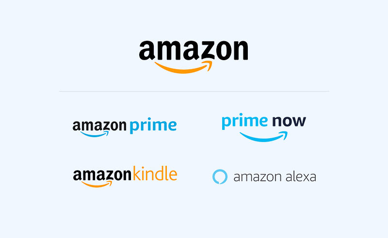 Different Amazon brands with logos