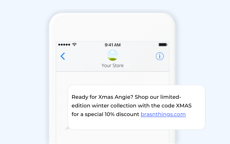 Holiday ecommerce SMS template