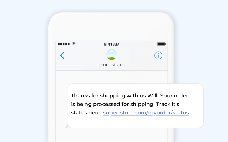 Order confirmation ecommerce SMS template