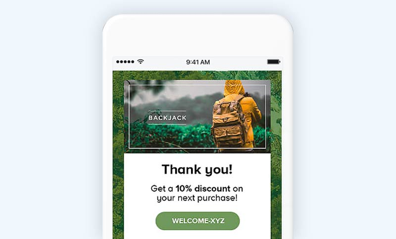 Post purchase email example
