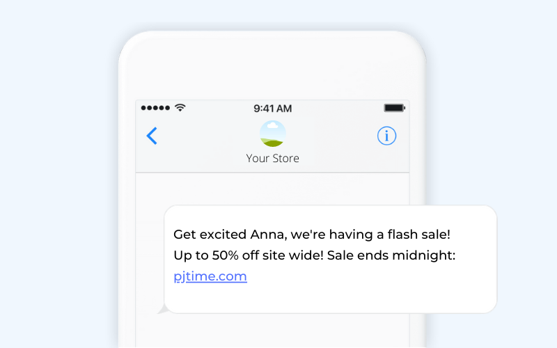 Upcoming sale ecommerce SMS template