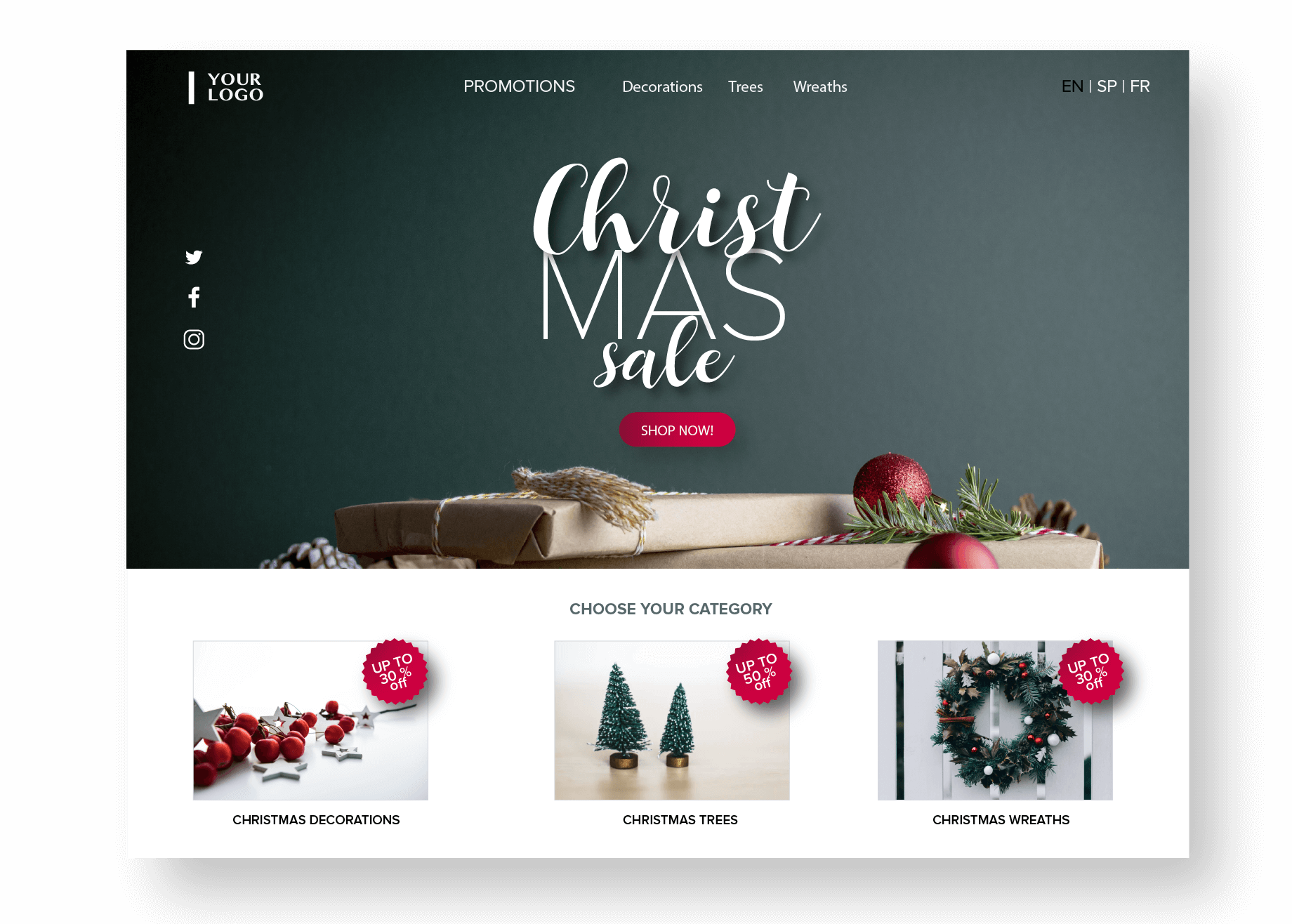 Christmas Sale Website Banner