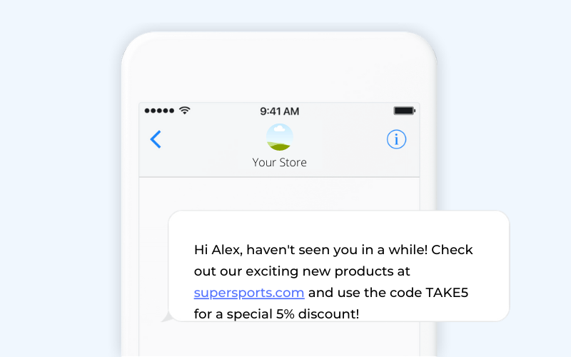 Winback campaign ecommerce SMS template