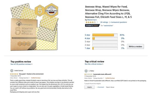 Customer product ratings